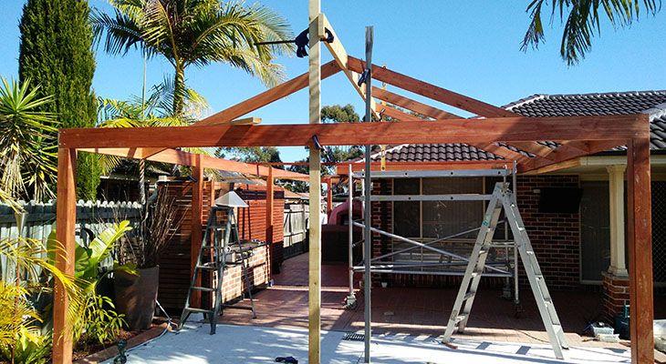 timber patio.